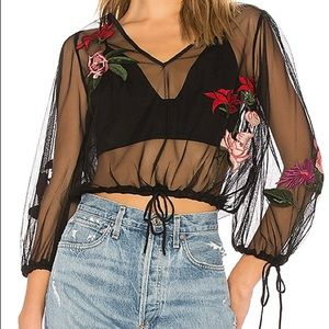 Lovers + Friends Lillian Embroidered black top